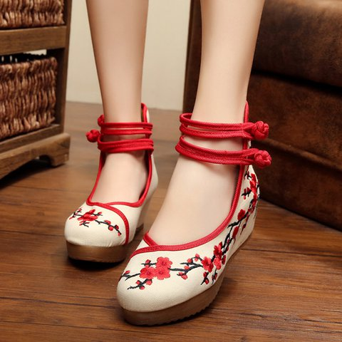 Embroidered Flower Wedge Heel Mary Jane Casual Shoes