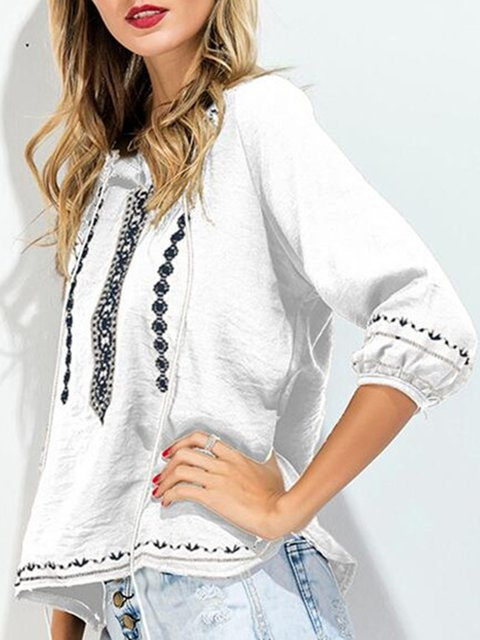 blend T Casual Shirt Embroidered Cotton Crew Sleeve Long Neck vwgx0tqU