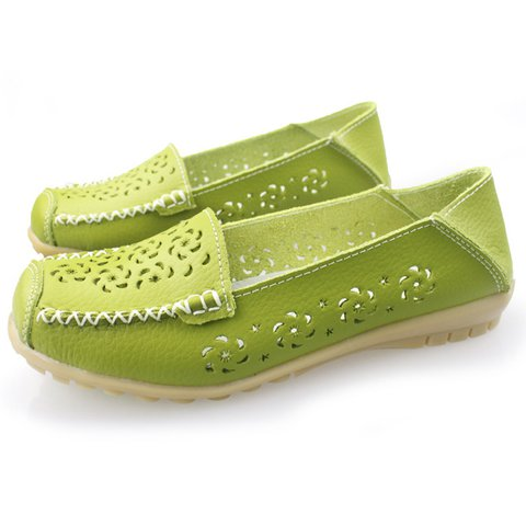 Casual Hollow-out Split Leather Non-slip Flats