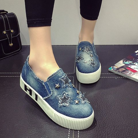 Casual Denim Patch Rivets Platform Loafers