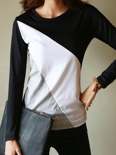 Long Sleeve Crew Neck Cotton-blend Color-block T-Shirt