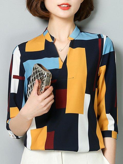 Printed Casual Geometric V Neck Shirts  Blouse