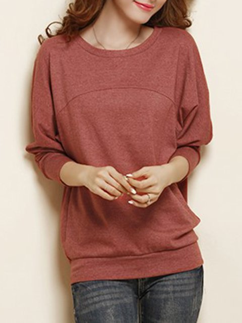 Solid Cotton-blend Casual T-Shirt