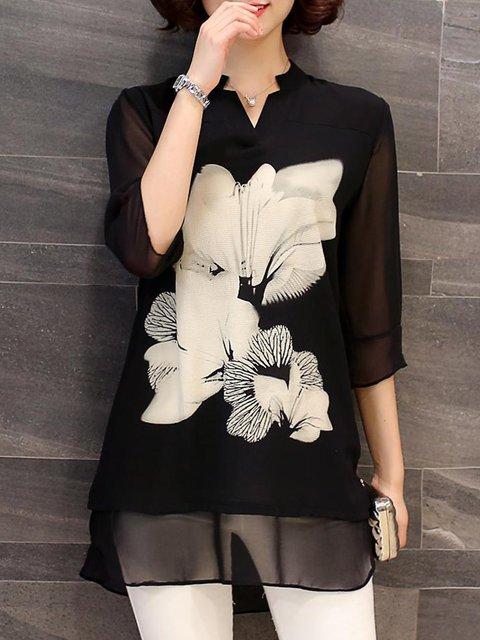 Plus Size Black Floral A-line V neck Floral-print Blouse