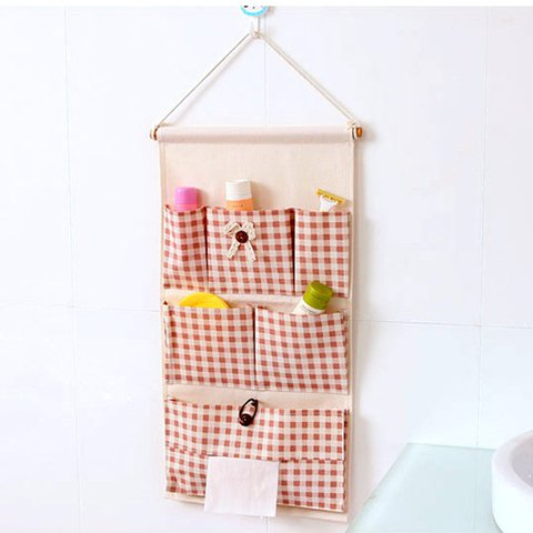 Casual Waterproof Gingham Pattern Cotton Linen Storage Versatile Home Hang Bag