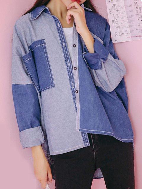 Casual Paneled Denim Shirt Collar Long Sleeve Jacket