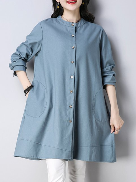 Women Daily Cotton-blend Casual Long Sleeve Buttoned Solid Casual Dress