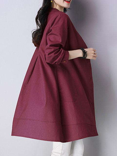 Casual Women blend Buttoned Solid Casual Long Cotton Daily Dress Sleeve tr4aqrw