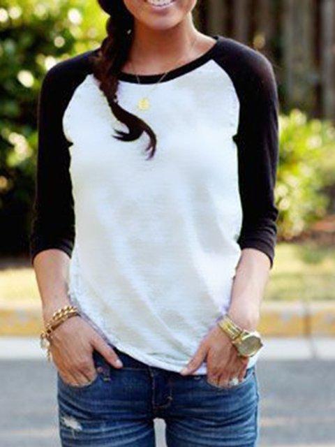 Long Sleeve Casual Paneled T-Shirt