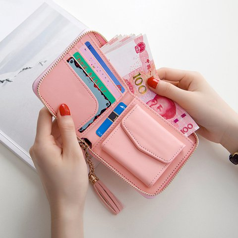 Sweet Tassel Decoration Card Holder Coin Bags Zipper Wallet
