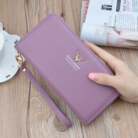 Women Casual Functional Exquisite Gold-tone hardware Phone Purse Card Holder Wallet