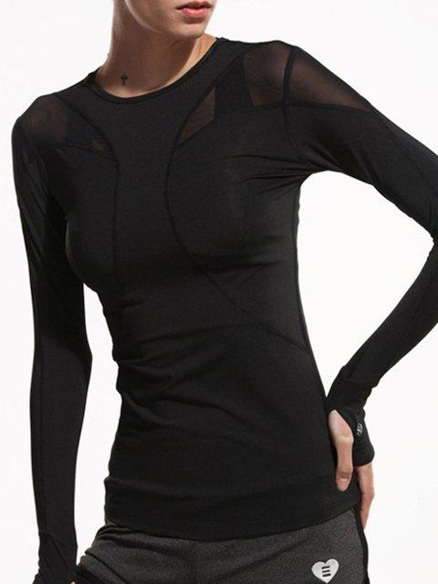 Black Cotton-blend Solid Sports Crew Neck T-Shirt