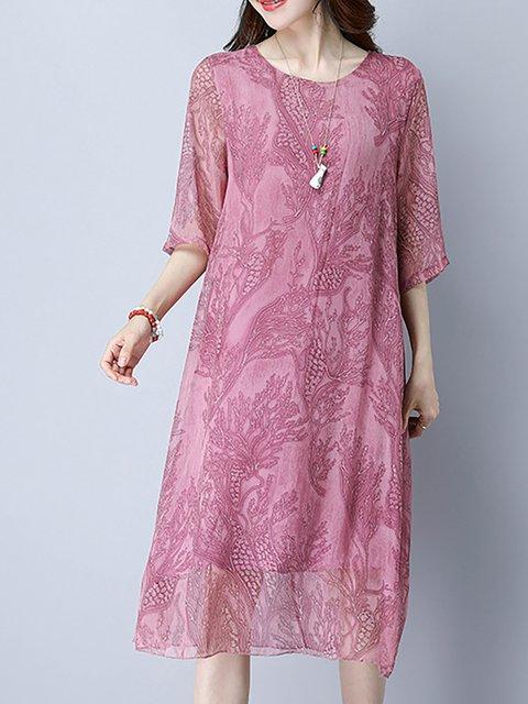 Women  Long Sleeve Cotton-blend Floral-print Floral Elegant Dress