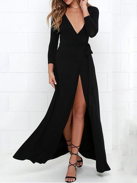 Black A-line Women Evening Long Sleeve Casual Cotton-blend Solid Summer Dress