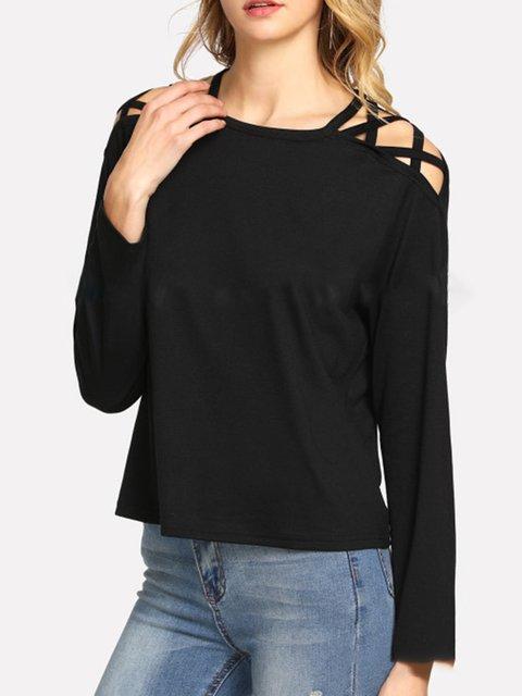 Black Cutout Cotton-blend Casual Crew Neck T-Shirt