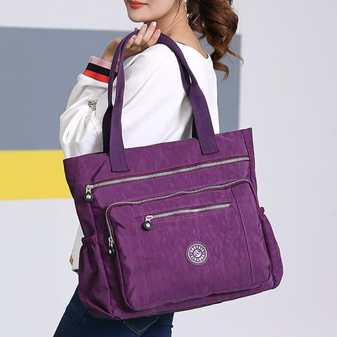 Women Multi Pockets Large Capacity Waterproof  Nylon Handbag Shoulder Bag
