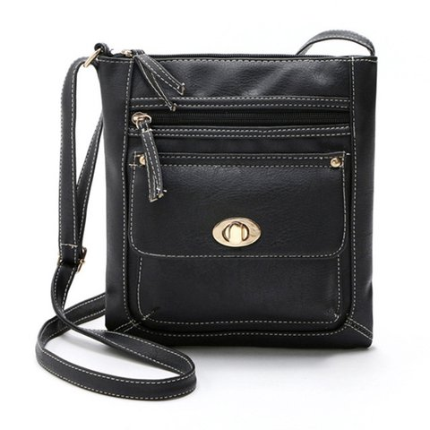 Women Retro PU Leather Stylish Square Crossbody Bag