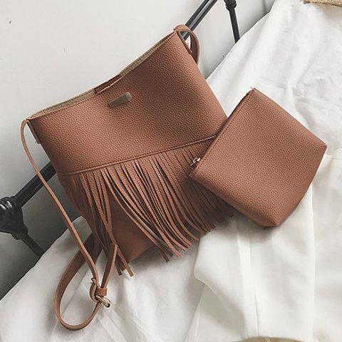 2PCS PU Leather Elegant Fringe Decoration Crossbody Bag