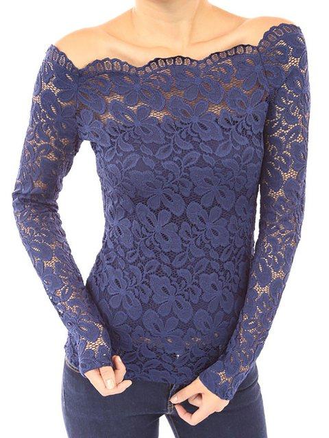Plain Long Sleeve Elegant Off Shoulder Lace Blouse