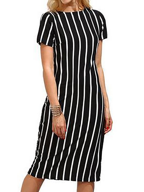 Black A-line Women  Casual Short Sleeve Striped Summer Dress