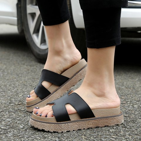 Women Large Size Genuine Leather Platform Slippers