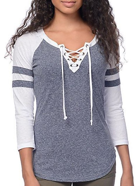Crew Neck Lace Up Sports T-Shirt