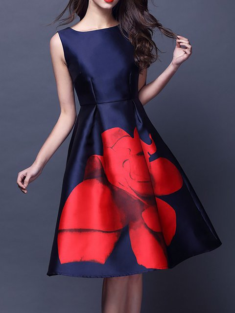 Deep blue Women Elegant Sleeveless Paneled Floral Prom Dress