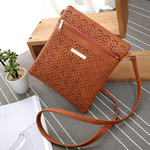 Chic Ladies Retro Flower Hollowed PU Leather Crossbody Bag