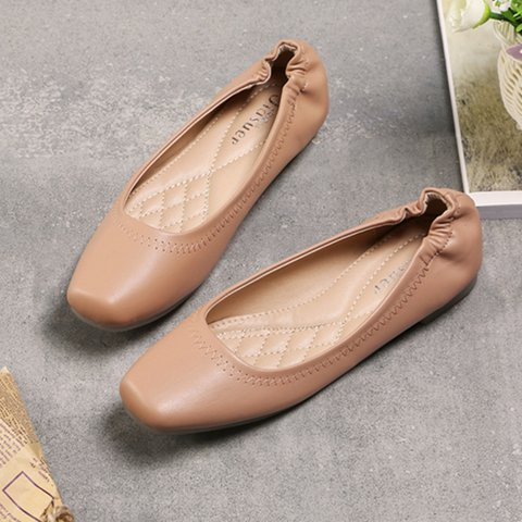 Microfiber Leather Square Toe Flats