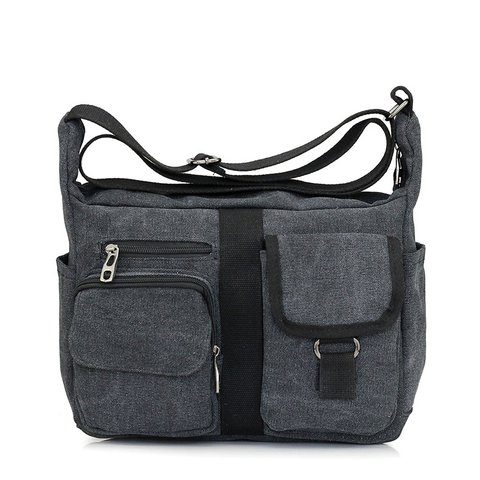 Unisex Multi Pockets Casual Canvas Crossbody Bag