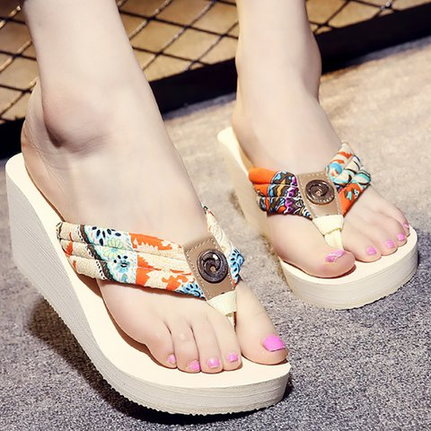 Wedge Heel Silk Fabric Spring/Fall Casual Floral Print Slippers