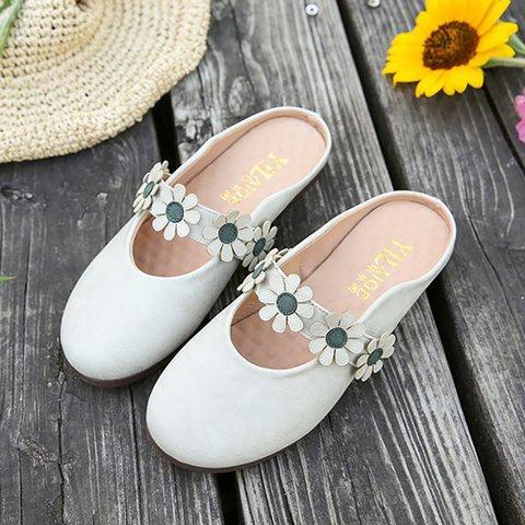 PU Flower Flat Heel Slippers