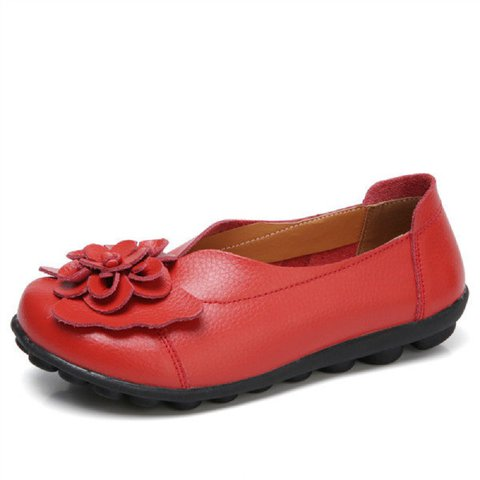 Large Size Flower Split Leather Flats