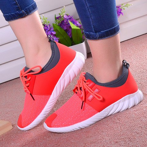 Split Joint Flyknit Fabric Lace-up Sneakers