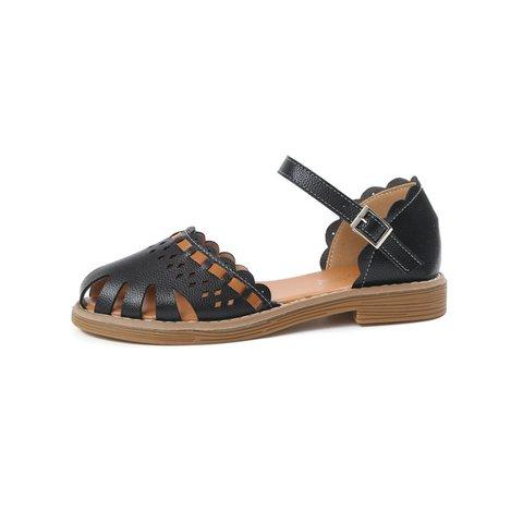 Hollow-out Dress PU Flat Heel Sandals