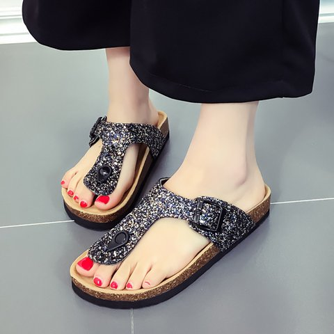 PU Sequin Casual Clip Toe Slippers