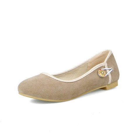 Large Size Button Artificial Nubuck Flat Shoes