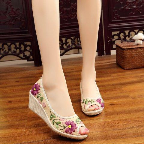 Flower Peep Toe Wedge Heel Shoes