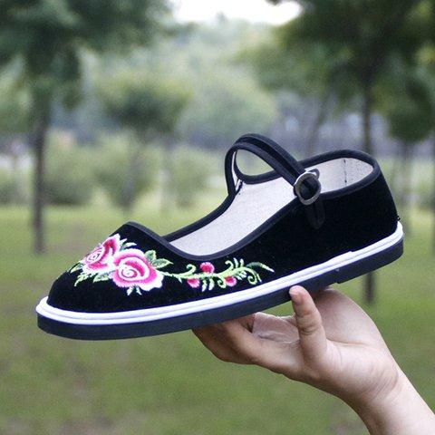 Black Cloth Floral Adjustable Buckle Flats
