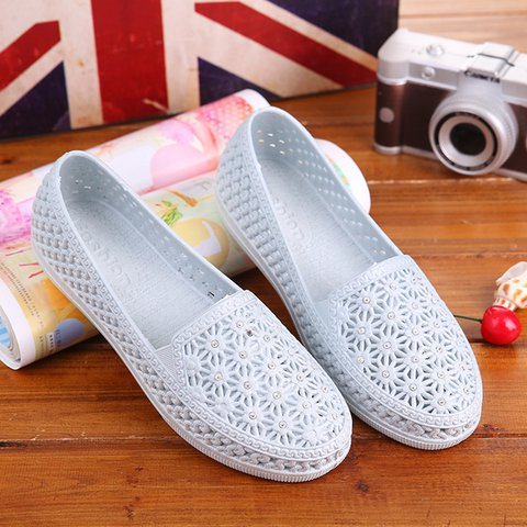 Hollow-out Slip On PVC Sandals