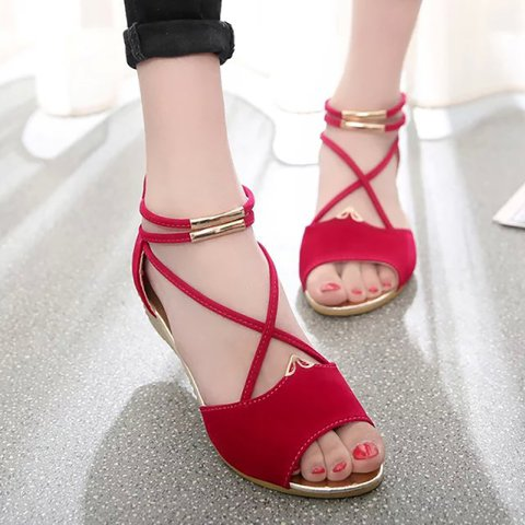 Daily Zipper Peep Toe Flocking Sandals