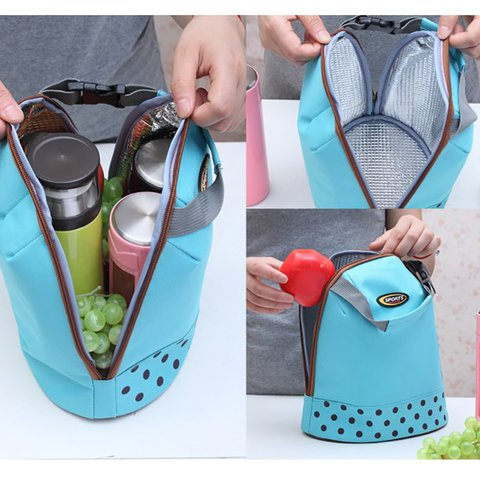 Casual Polka Dot Portable Lunch Bag Point Heat Retaining Storage Bag