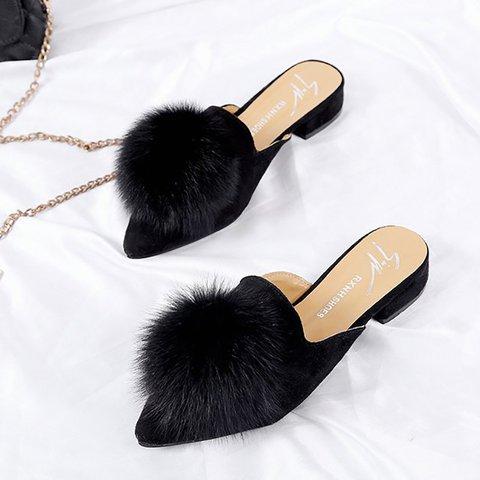 Dress Fur Low Heel Slippers