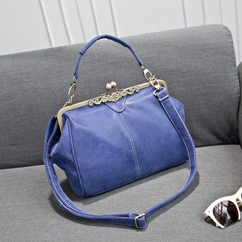 Vintage PU Leather Kiss Lock Handbag Crossbody Bag For Women