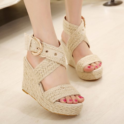 Braided Adjustable Buckle Wedge Heel Sandals