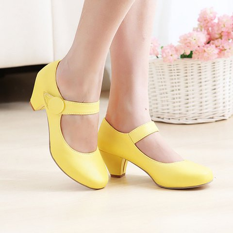 PU Casual Magic Tape Cone Heel Pumps