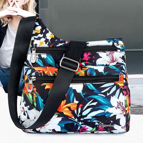 Vintage Floral Printed Waterproof Nylon Multi-slots Crossbody Bag For Women
