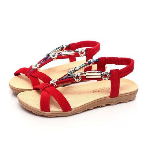 Flocking Flat Heel Summer Sandals