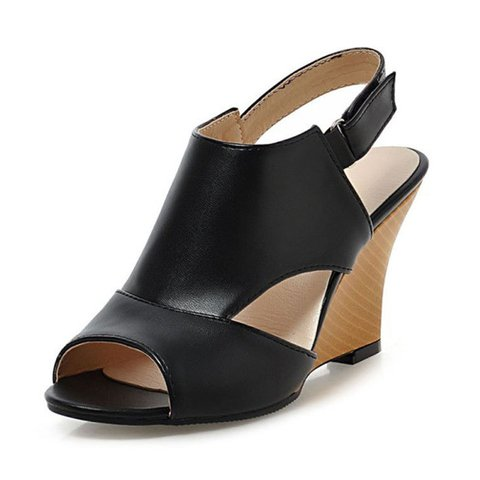 PU Hook-Loop Wedge Sandals