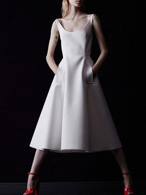 Square neck  Women Beach Cotton-blend Elegant  Solid Prom Dress